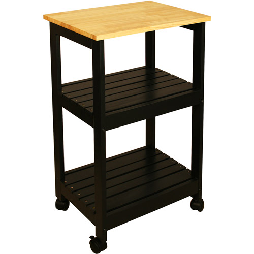 catskill craftsmen utility kitchen cart, black - walmart