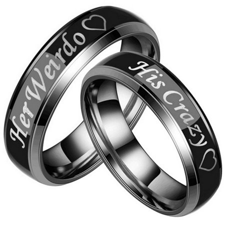 Couple's Matching Ring Her Weirdo and His Crazy Color Changing His and Her Matching Wedding Band in Stainless Steel for Men and Women, Comfort Fit (Style 1c5032) (Matching His And Her Halloween Costumes)