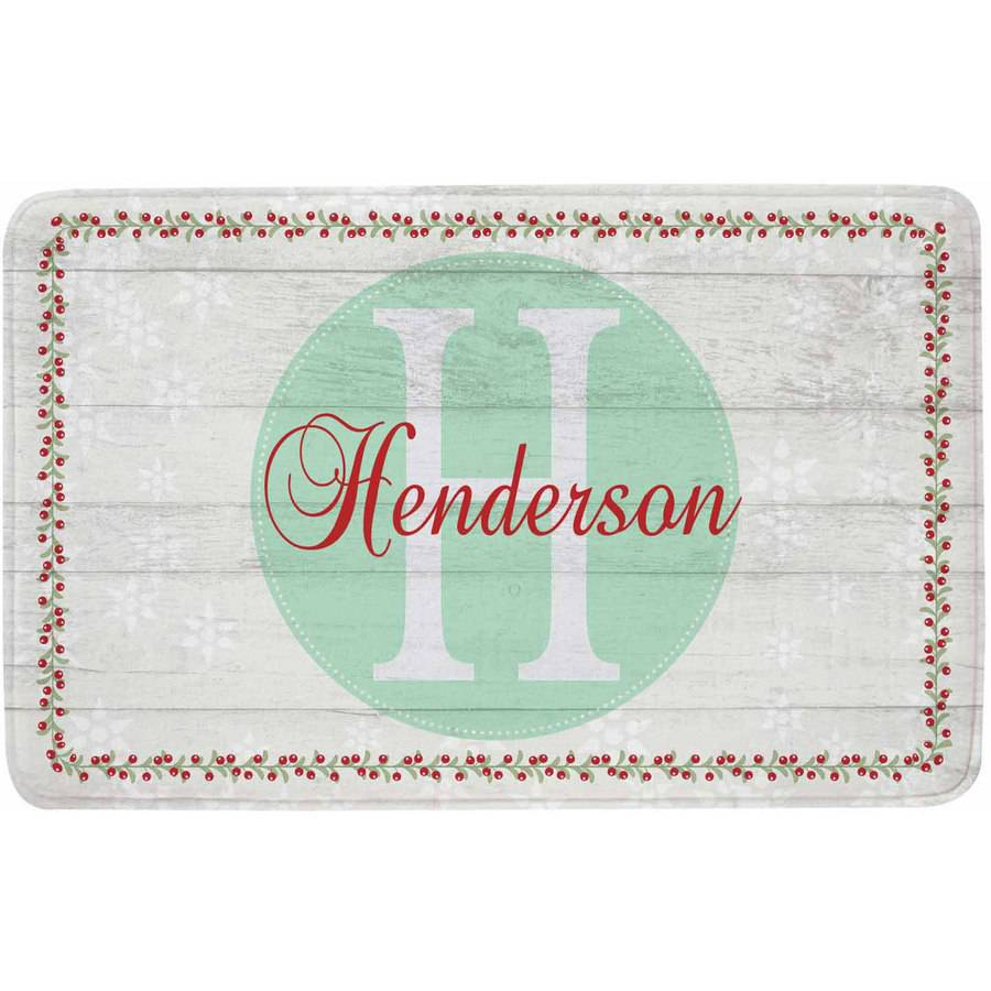 Personalized Holiday Family Initial and Name Comfort Mat