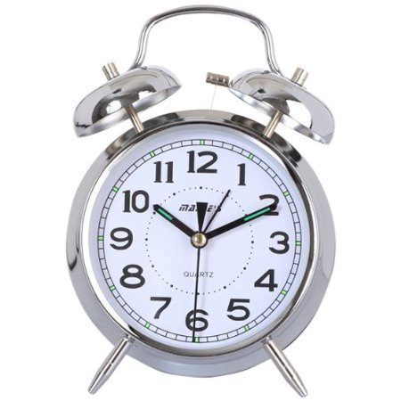 - Maple's 4-Inch Double Bell Alarm Clock, Chrome Finish
