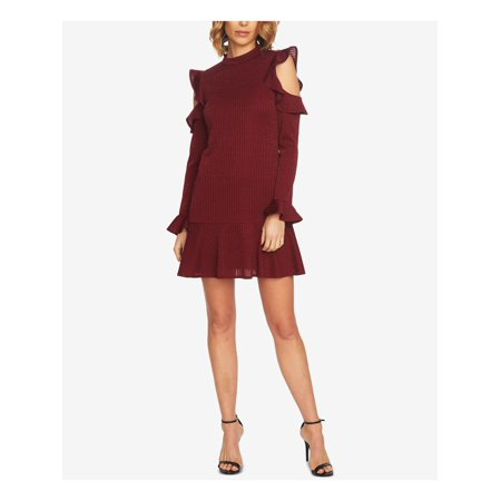 CECE Womens Maroon Cold Shoulder Ruffled Long Sleeve Mandarin Collar Mini Shift Dress  Size: S