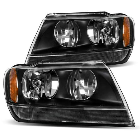 For 99 00 01 02 03 04 Jeep Grand Cherokee Headlight Assembly,OE Projector Headlamp,Black Housing,One-Year Limited Warranty(Driver and Passenger Side) 2001 Jeep Grand Cherokee Headlights