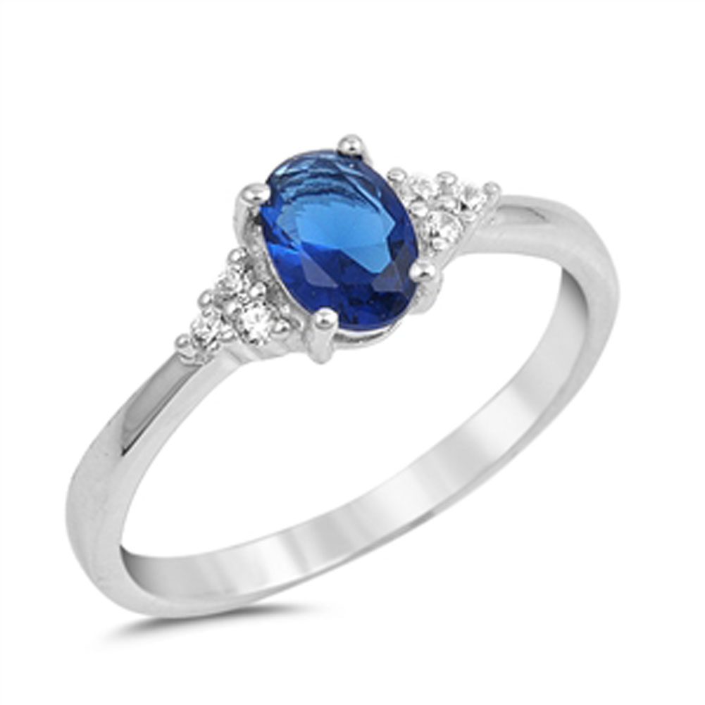 Oval Blue Simulated Sapphire Wedding Ring ( Sizes 4 5 6 7 8 9 10 ) New .925 Sterling Silver Band Rings by Sac Silver (Size 6)