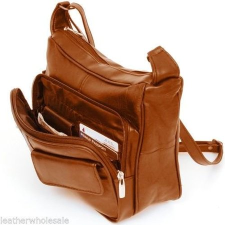 Women s Leather Organizer Purse Shoulder Bag Multiple Pockets Cross Body  Handbag (Light Brown) - Walmart.com d871d44cdb178