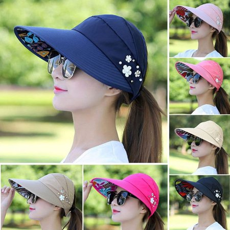 Fashion Women Lady Ladies Summer Visor Hat Foldable Sun Beach Roll Up Wide Brim Cap