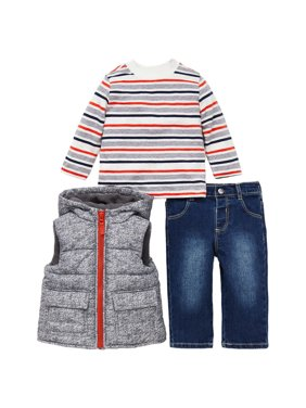Little Me Boys 3 Piece Jacket, Top Pant Outfit Set (Denim, 12M)