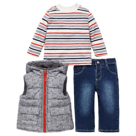 Little Me Boys 3 Piece Jacket, Top Pant Outfit Set (Denim, 12M) Little Monster Pant