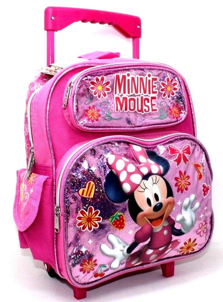 "Disney Minnie Mouse 12"" Small Toddler Shine Pink School Rolling/Roller Backpack"