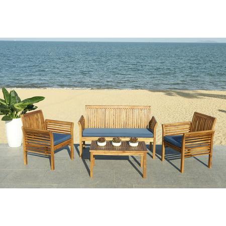 Outdoor 4 Piece (Safavieh Carson Outdoor Contemporary 4 Piece Living Set with Cushion)