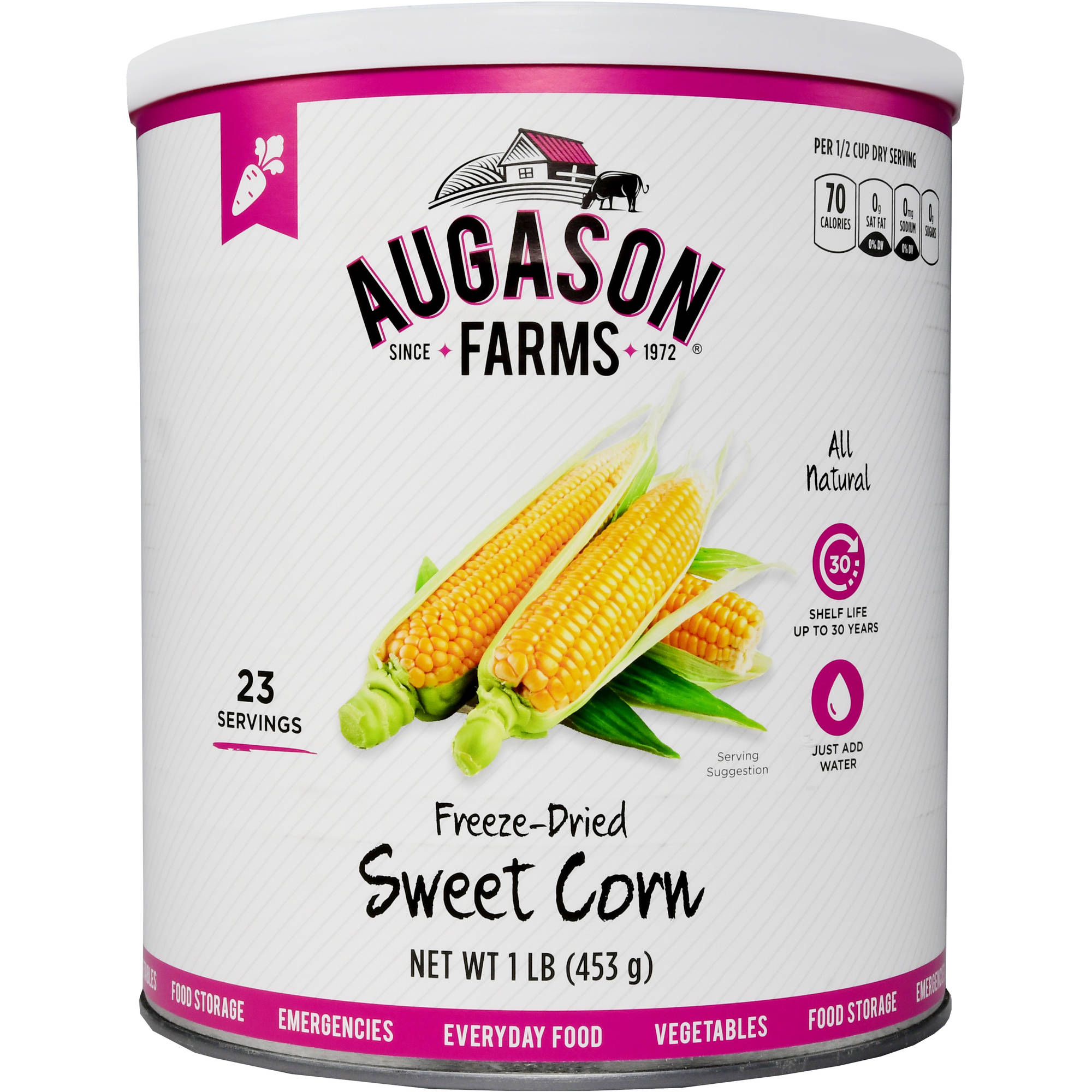 Augason Farms Emergency Food Freeze-Dried Sweet Corn, 16 oz