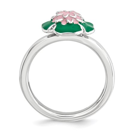 Sterling Silver Stackable Expressions Water Lily Ring Size 9 - image 2 de 3