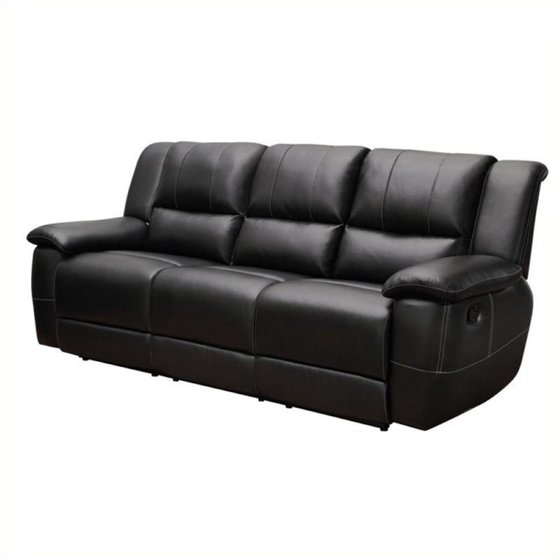 Bowery Hill Transitional Leather Reclining Sofa in Black