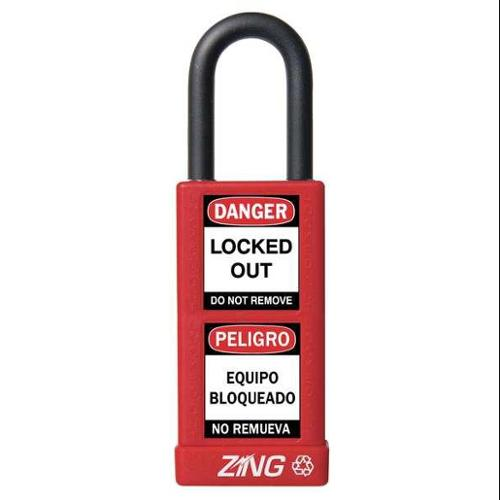 ZING 7071 Lockout Padlock, KA, Red, 1/4In Shackle Dia