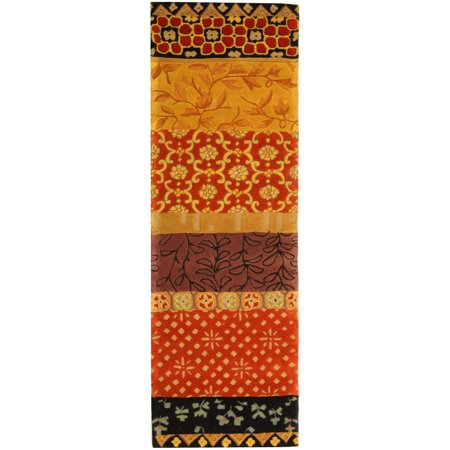 Safavieh Rodeo Drive Terrence Hand Tufted Wool Runner Rug, Rust and Gold