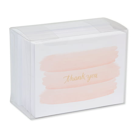 American Greetings 50 Count Thank You Cards, Gold and Pink Brush - Pokemon Thank You