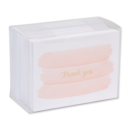 American Greetings 50 Count Thank You Cards, Gold and Pink Brush