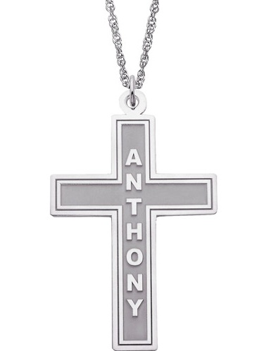 """Personalized Sterling Silver Religious Cross Name Pendant, 20"""""""