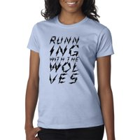 Trendy USA 1410 - Women's T-Shirt Running With The Wolves Music Song XL Red