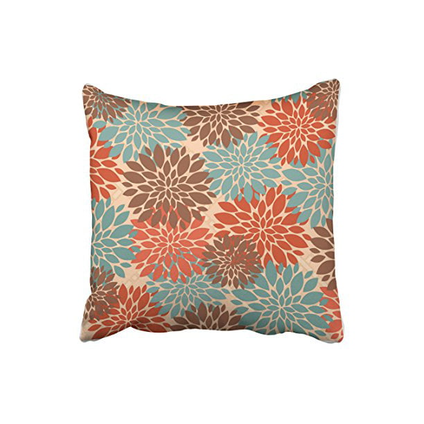 Winhome Unique Elegant Orange Teal Cream Brown Peonies Print Pattern Popular Polyester 18 X 18 Inch Square Throw Pillow Covers With Hidden Zipper Home Sofa Cushion Decorative Pillowcases Walmart Com Walmart Com