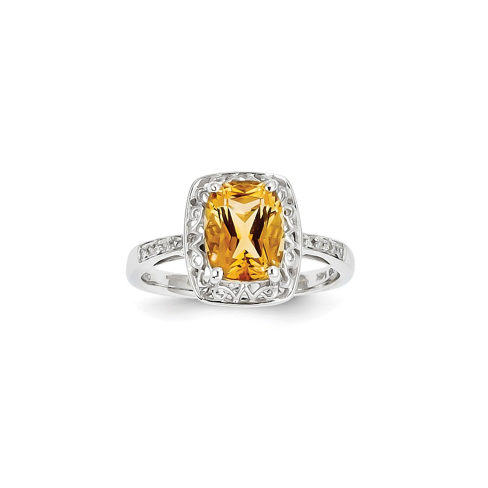 14k White Gold Diamond and Citrine Oval Ring by Kevin Jewelers