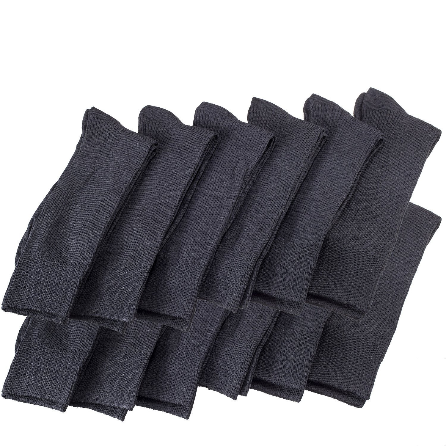 12 Pairs Of excell Mens Black Dress Diabetic Socks, Cotton Blend, Sock Size 10-13