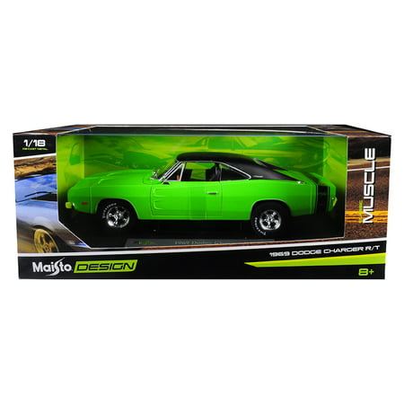 1969 Dodge Charger R/T Green with Black Top 1/18 Diecast Model Car by Maisto