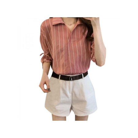 Women 3/4 Sleeves V-neck Striped Cotton Casual Blouse Top