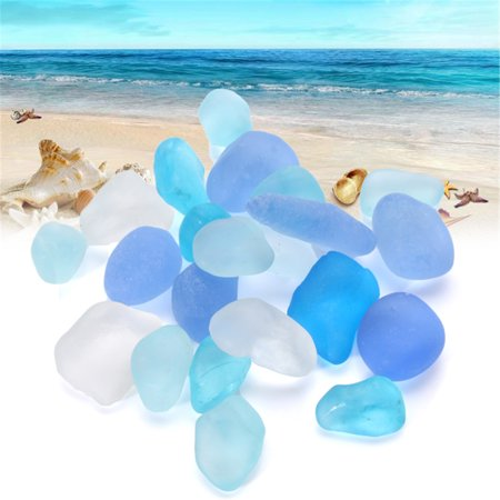 20 Pieces Sea Beach Glass Beads Mixed Color Jewelry Vase Aquarium Decor 10-16mm (Glass Bead Jewelry Designs)