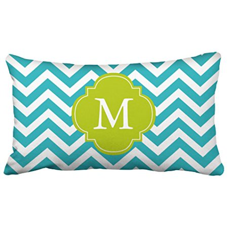 WinHome Pillowcases Peacock Teal Green Zigzags Pattern Monogram Decorative Throw Pillow Covers Protectors Cases Cushion Cover Case Couch Sofa King Size 20x30 inches One Side print