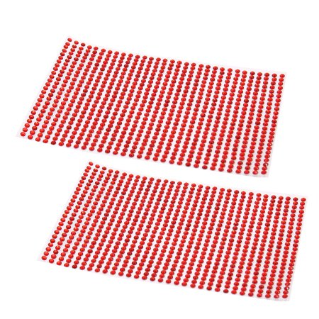 2Pcs Red 3mm Self Adhesive Bling Rhinestone DIY Car Phone Styling Sticker Decor Decal (Diy Car Decals)