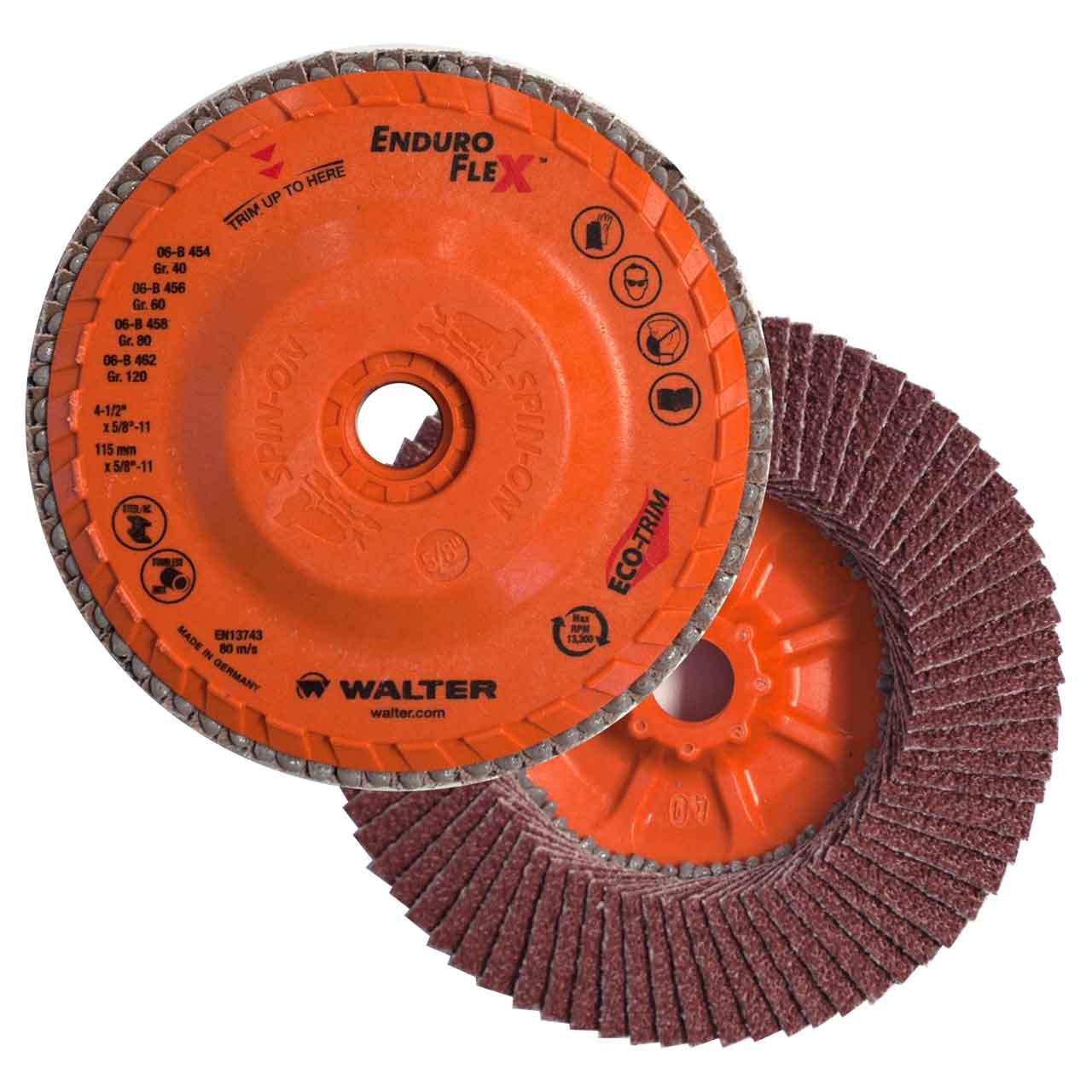 Walter 06B454 4-1/2x5/8-11 Enduro-Flex Spin-On Flap Disc 40 Grit | PKG = 10