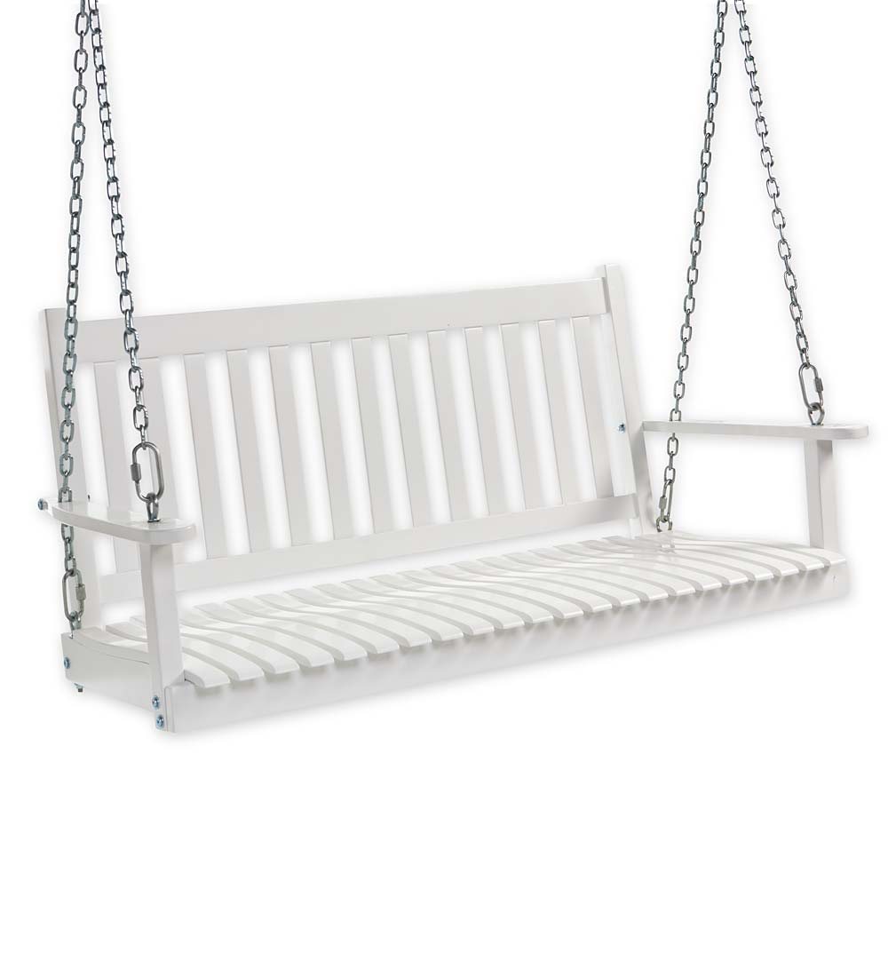 Slatted Eucalyptus Wood Porch Swing with Hanging Chains