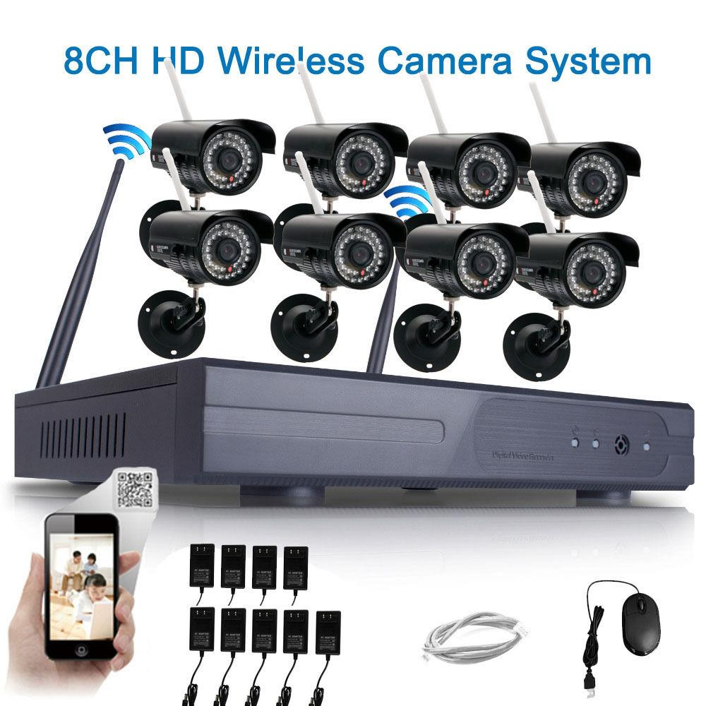 Ktaxon 8pcs HD 720P WIFI Wireless IP Camera System 8CH NVR Outdoor Security Home Video Without Hard Drive