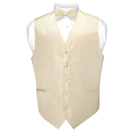 Striped Tailored Suit - Men's Dress Vest & BOWTie EGG YOLK CREAM Vertical Striped Design Bow Tie Set