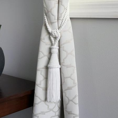 2 Pack Decorative White Rope Braid Tassel Curtain Holdback Tieback (Rope Tassel Tie Back)