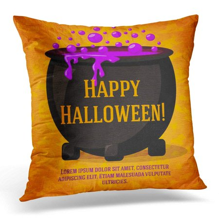 Cute Halloween Crafts To Do At Home (USART Happy Halloween Cute Retro on The Craft with Black Witch Cauldron Boiling Potion with Greeting and Place Pillow Case Pillow Cover 18x18)