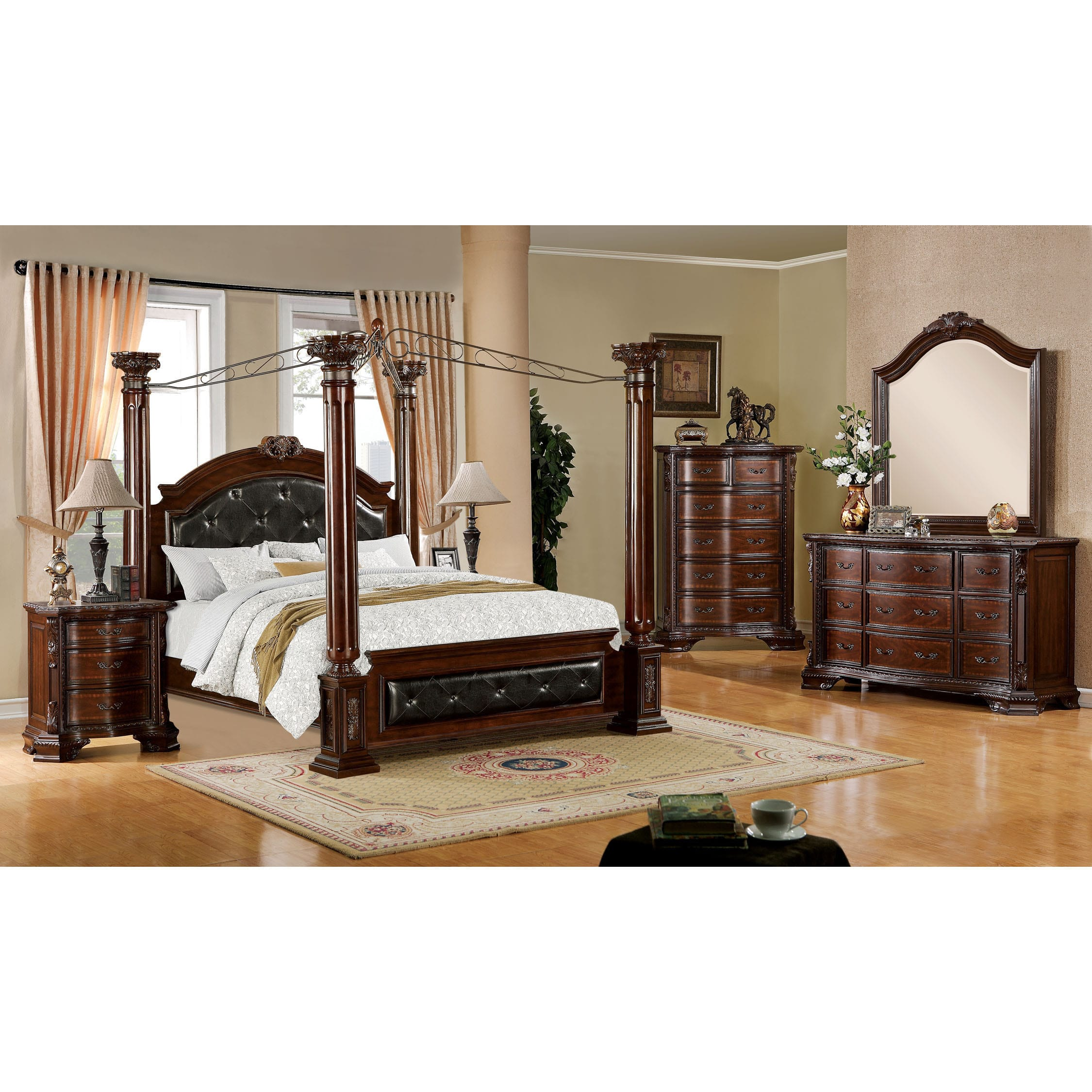 Furniture of America Luxury Brown Cherry 4-Piece Baroque Style Canopy Bedroom Set by Overstock