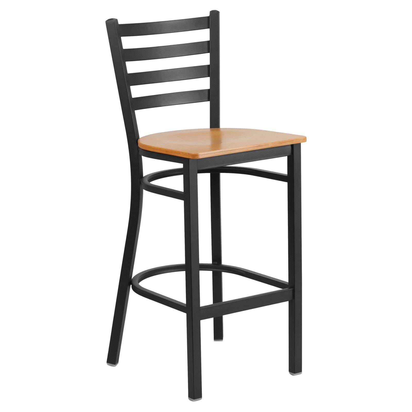 Flash Furniture HERCULES Series Black Ladder Back Metal Restaurant Barstool - Wood Seat Multiple Colors