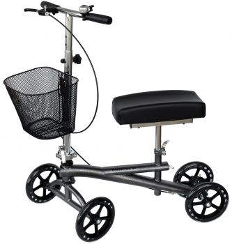 Isokinetics, Inc. Knee Scooter Walker - w/Most Sought Features -Silver - Removable Basket, Non-Scuff Wheels, Locking Brakes---and one just for fun---a Bell