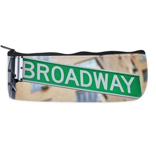 POPCreation Broadway street sign new york School Pencil Case Pencil Bag Zipper Organizer Bag