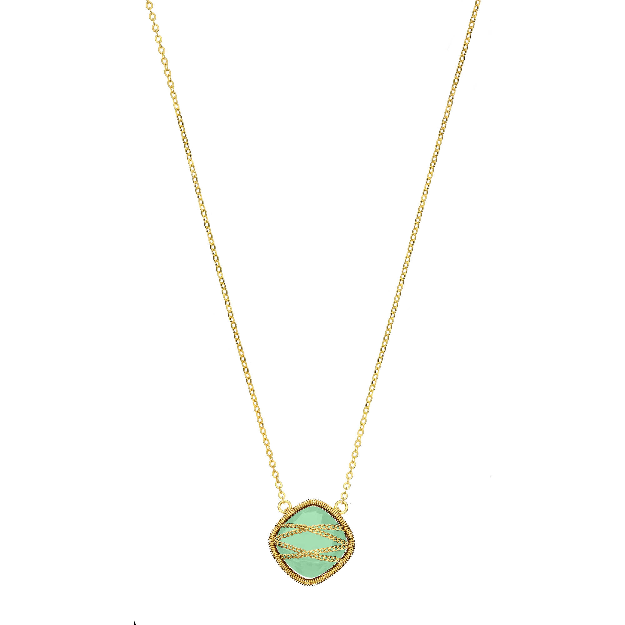 Image of 5th & Main 18kt Gold over Sterling Silver Hand-Wrapped Squared Chalcedony Stone Necklace