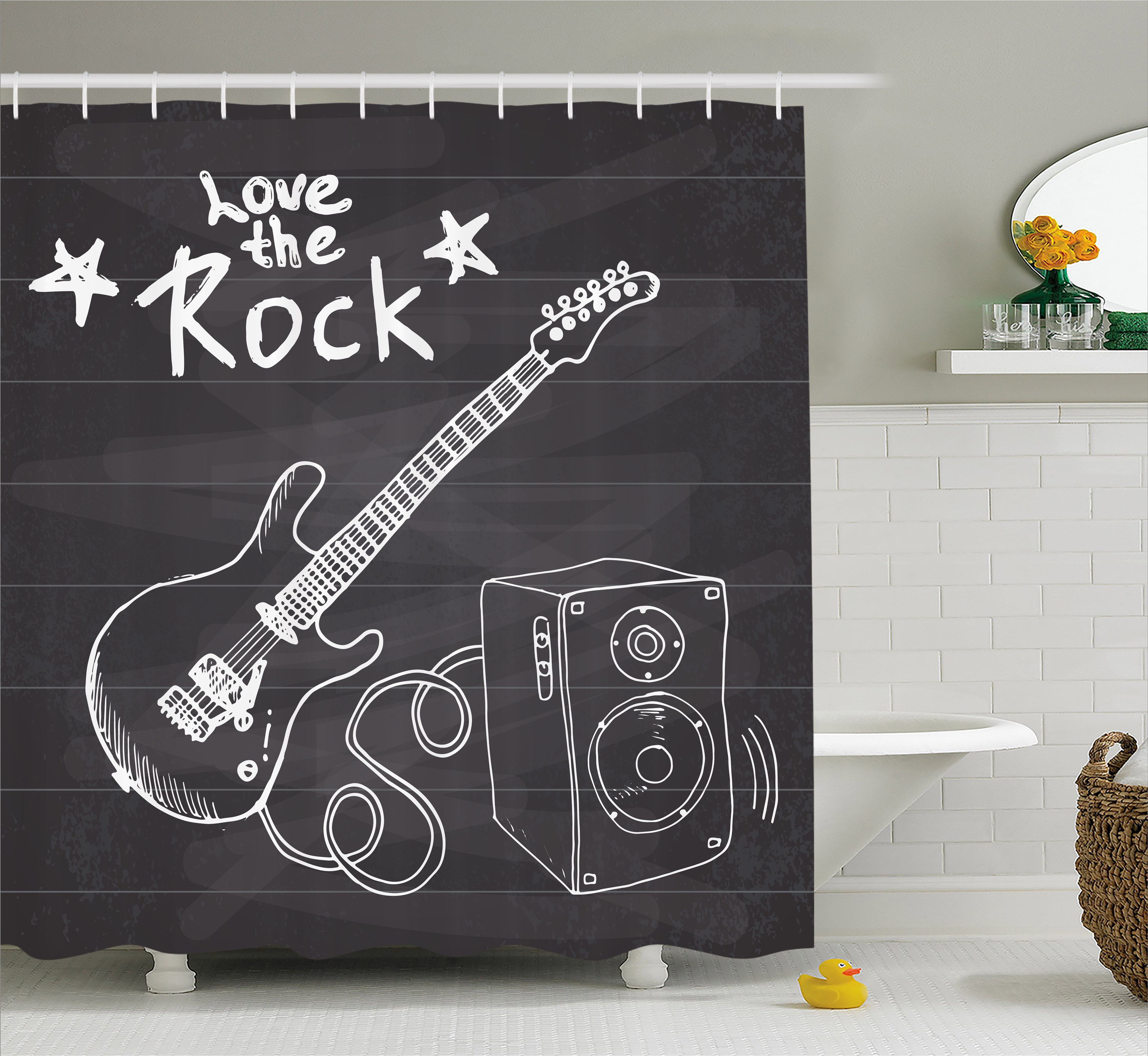Guitar Shower Curtain Love The Rock Music Themed Sketch Art Sound