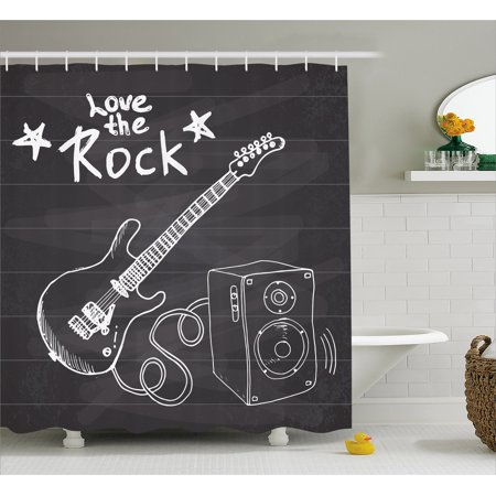 Guitar Shower Curtain, Love The Rock Music Themed Sketch Art Sound Box and Text on Chalkboard Print, Fabric Bathroom Set with Hooks, 69W X 70L Inches, Dark Taupe White, by Ambesonne