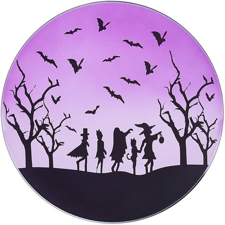 Pavilion - Purple Halloween Themed Glass Rounded Jar Candle Tray, 7.25 Inch