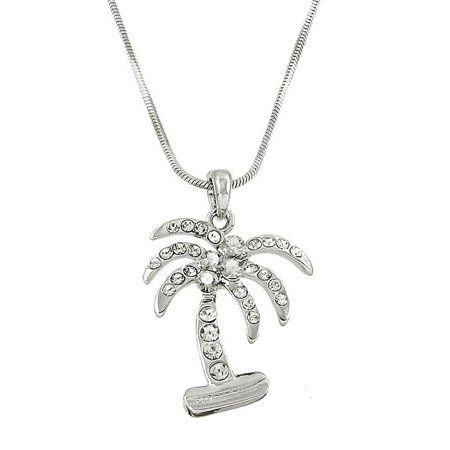 Tropical Palm Tree Pendant Necklace Rhinestone Crystal Rhodium High Polished -