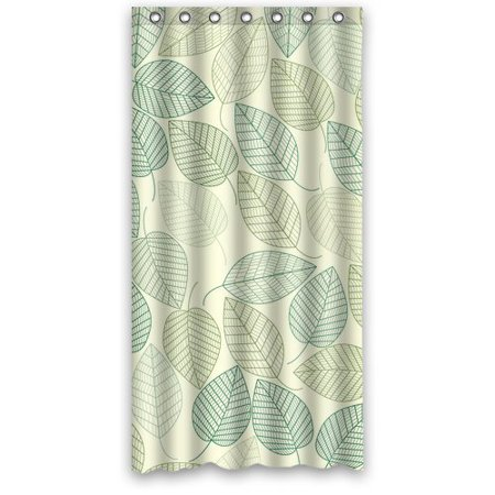 GreenDecor Home Green Leaves Waterproof Shower Curtain Set With Hooks Bathroom Accessories Size 36x72 Inches