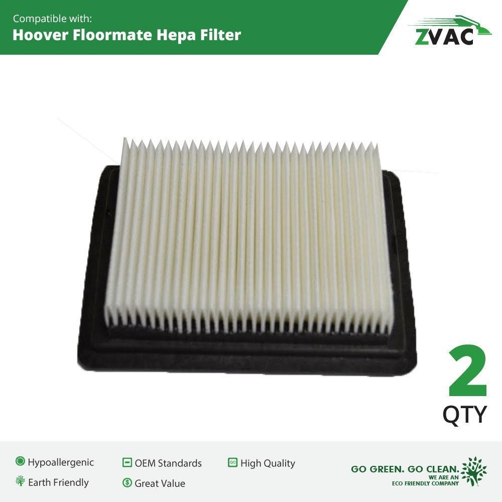 Hoover Floormate WASHABLE, REUSABLE HEPA Filters (2 Pack) - Similar to 40112050 - by ZVac