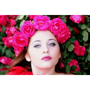 LAMINATED POSTER Roses Wreath Girl Flowers Beauty Red Poster Print 24 x 36 (Red Rose Wreath)