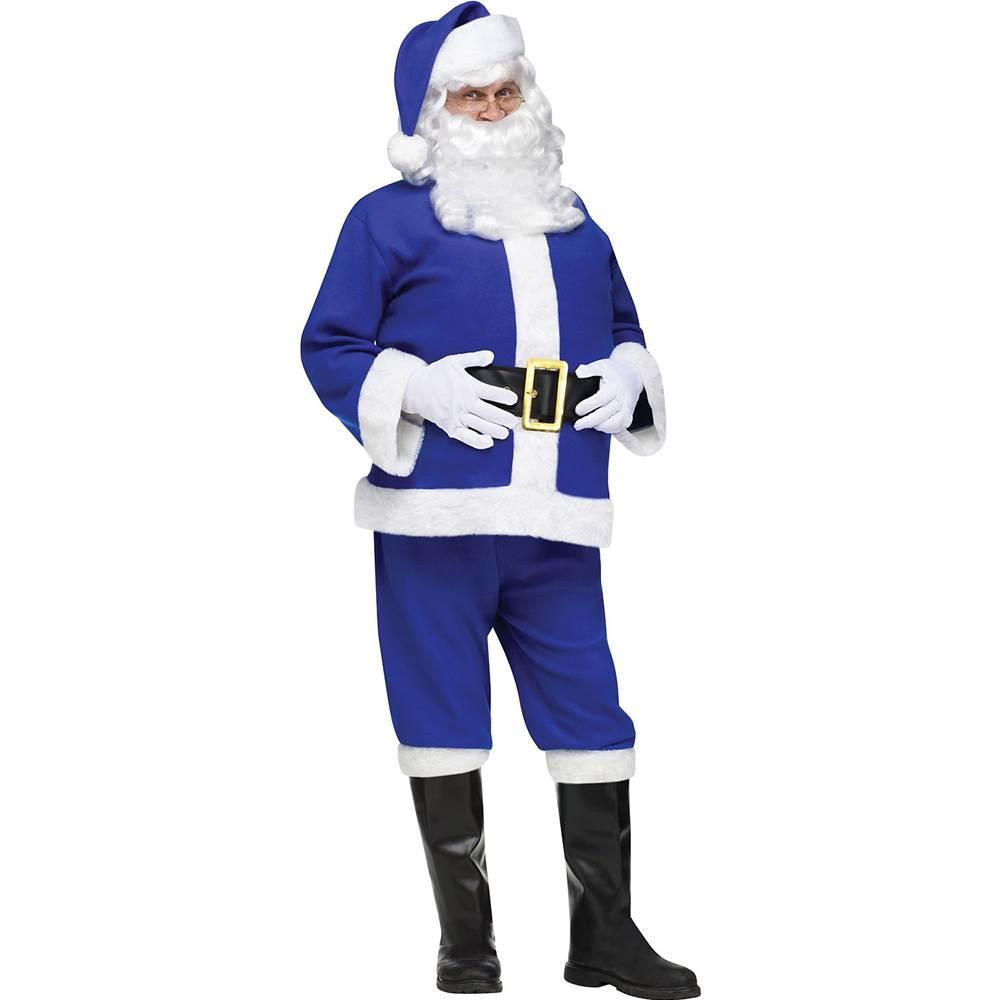 Fun World Blue Flannel Chanukah Santa Claus Suit Adult Co...