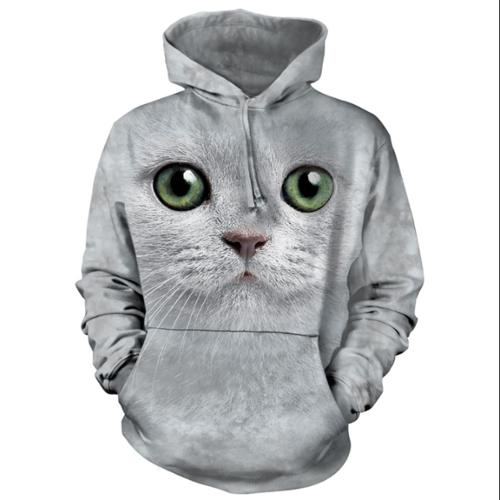 The Mountain White Cotton Green Eyes Face Hd Awesome Animal Hoodie (Small) NEW